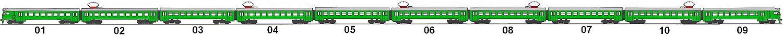 Основная схема формирования 10-вагонного электропоезда.