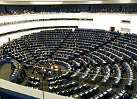 Hemicycle of European Parliament, Strasbourg, with chamber orchestra performing-cropped.jpg