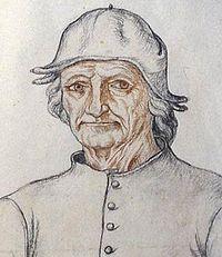 Портрет Босха. Карандаш, сангина 41×28 см. Муниципальная библиотека. Аррас.