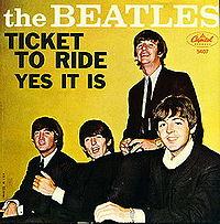 Обложка сингла «Ticket to Ride» (The Beatles,1965)