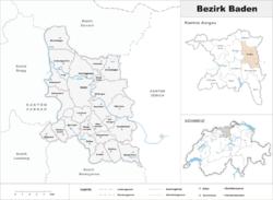 Баден-Ааргау (округ) на карте