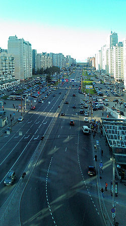 View from the upper floor of TRK Atmosphere to Komendantsky prospect.jpg