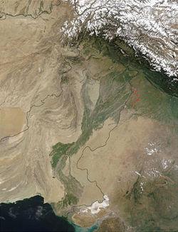 Спутниковый снимок бассейна Инда