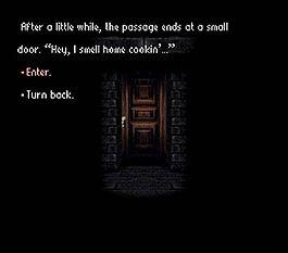 Фрагмент игры; игроку предлагается на выбор несколько действий