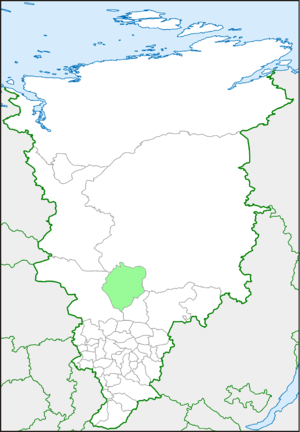 Северо-Енисейский район на карте