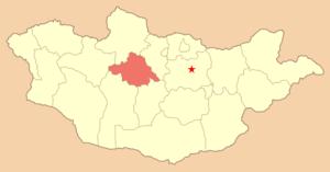 Ара-Хангайский аймак, карта