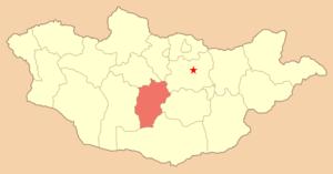 Увэр-Хангайский аймак, карта