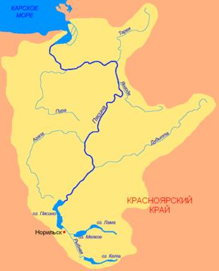 Бассейн реки Пясина. Река Норильская изображена без названия в виде протоки между озерами около Норильска.