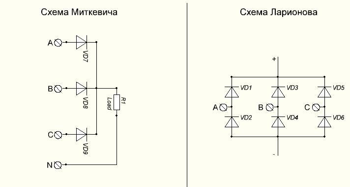 Схемы трёхфазных выпрямителей