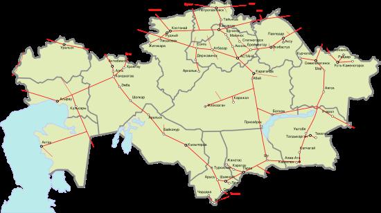 железных дорог казахстана схема
