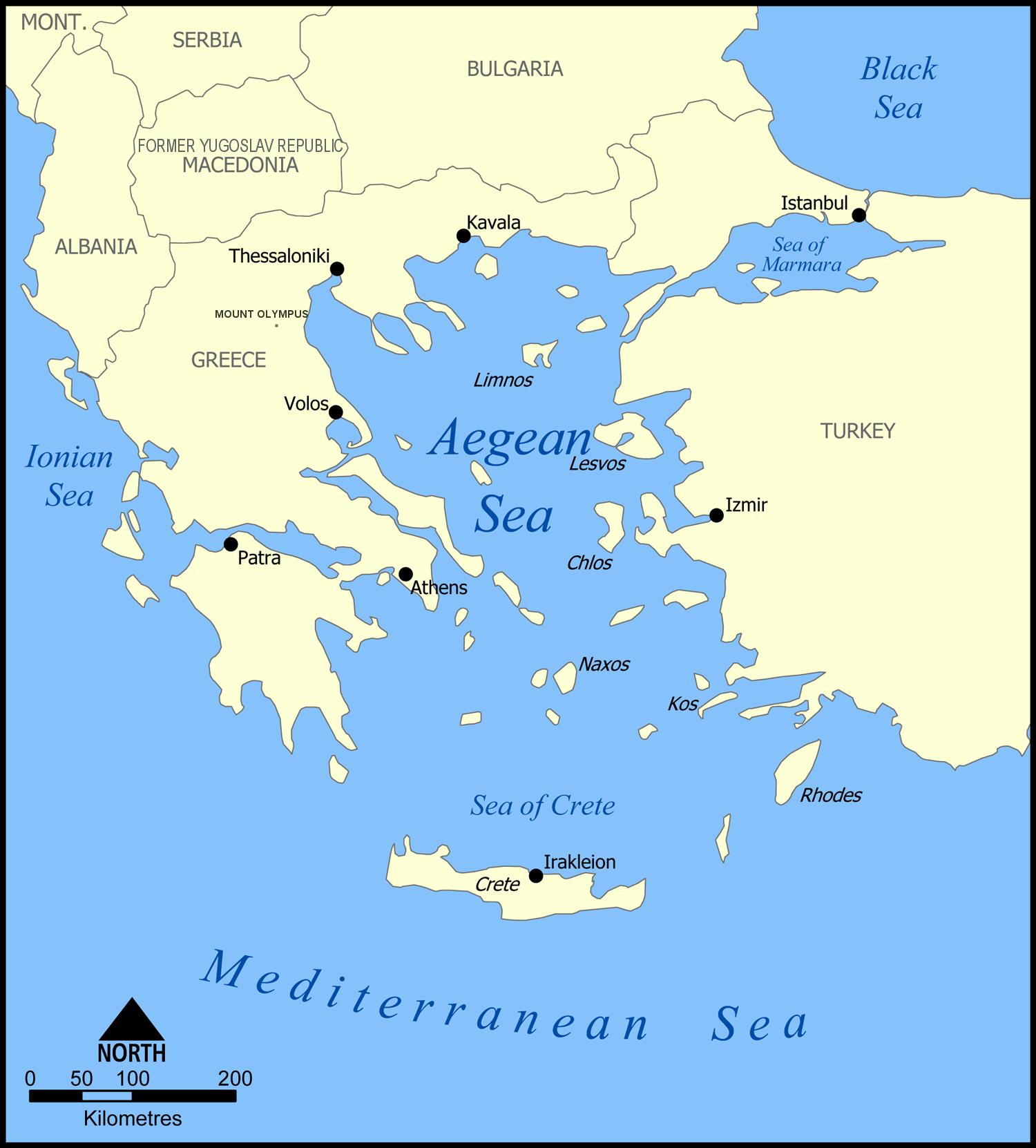 Карта эгейского моря
