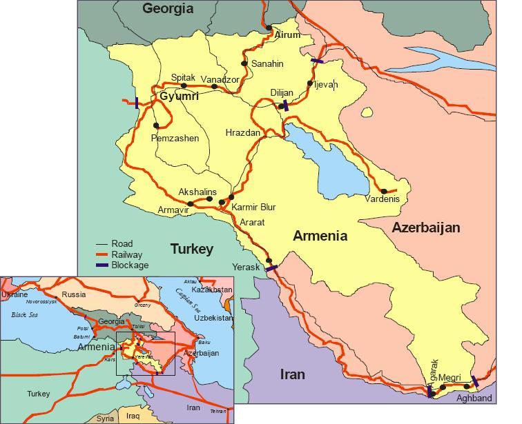 Карта железных дорог Армении.