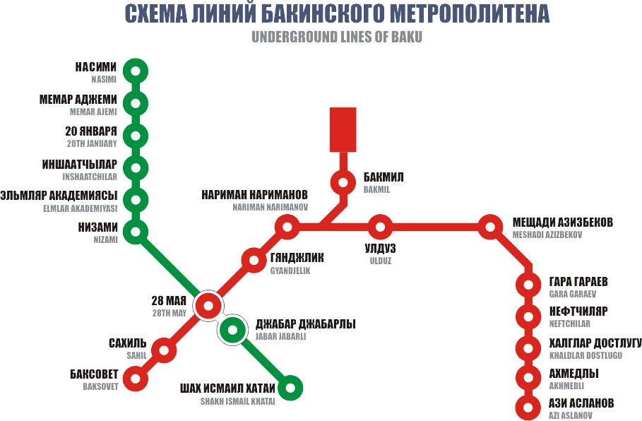 Карта Бакинского метрополитена