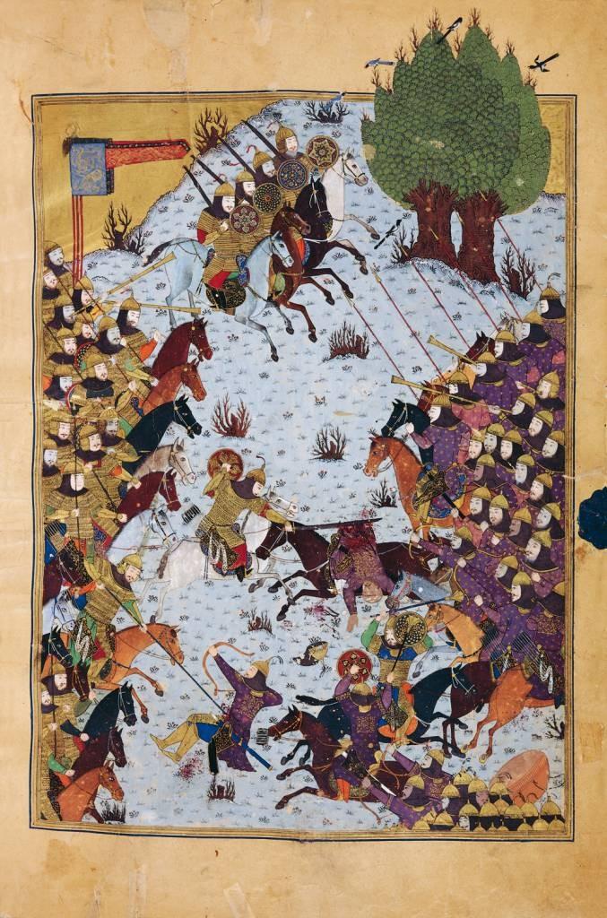 миниатюры из Шах наме Baysonghori_Shahnameh_battle-scene