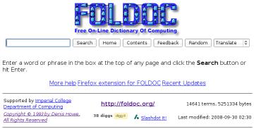 free on line dictionary of computing