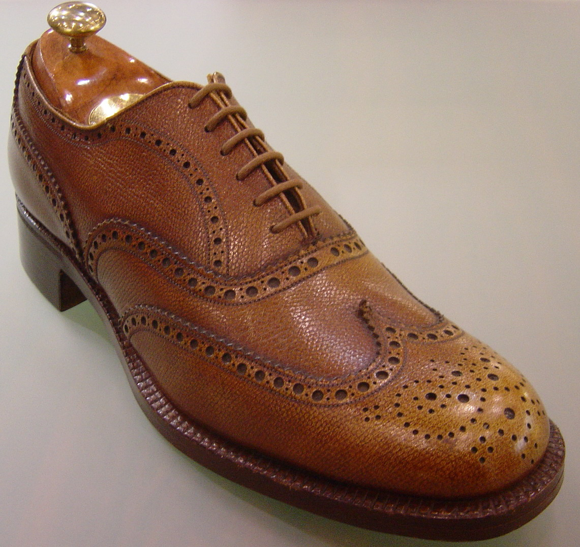 Orange Leather Toe Cap Mens Shoe