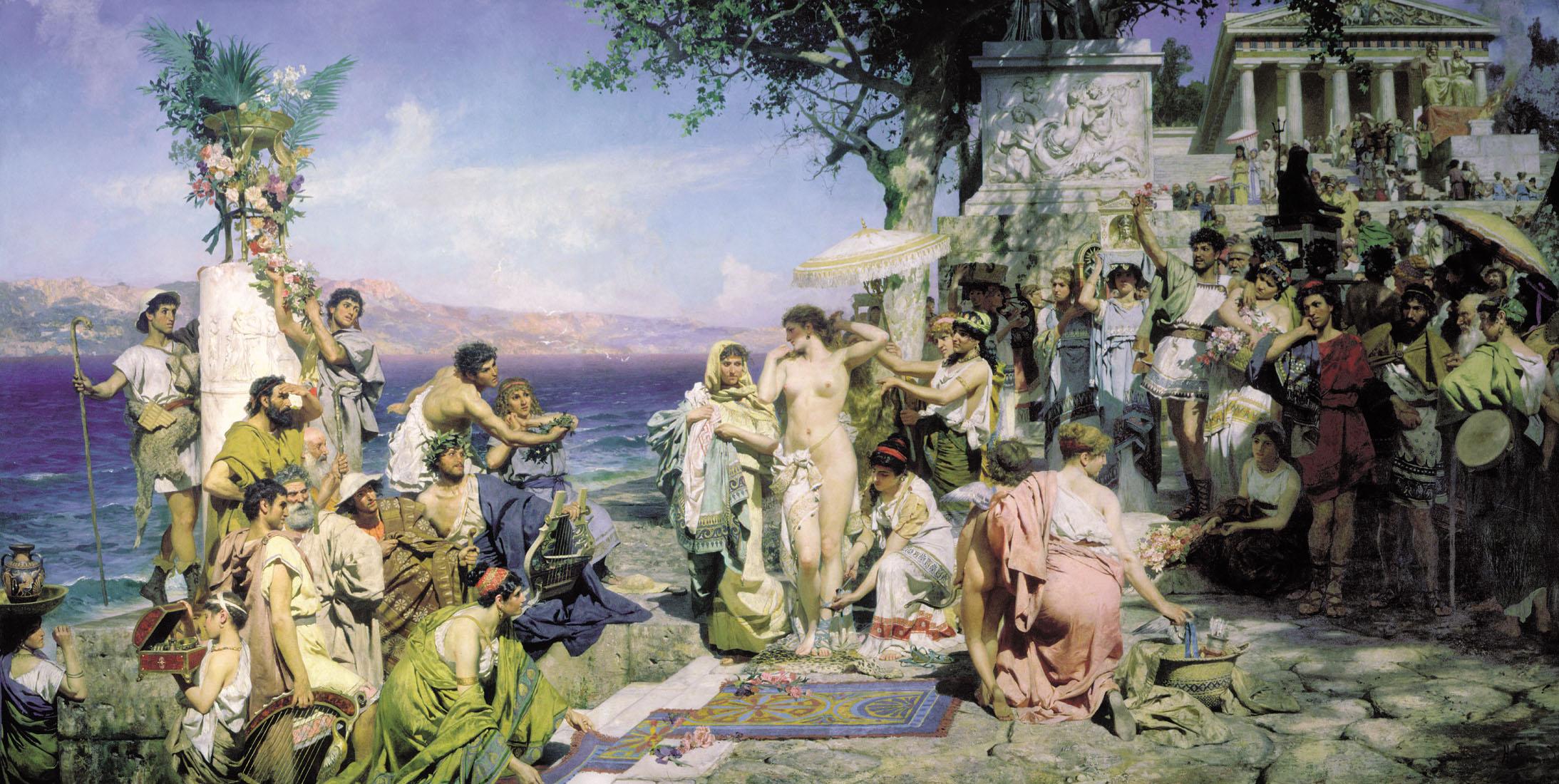 Фрина на празднике Посейдона в Элевсине картина Генриха Семирадского