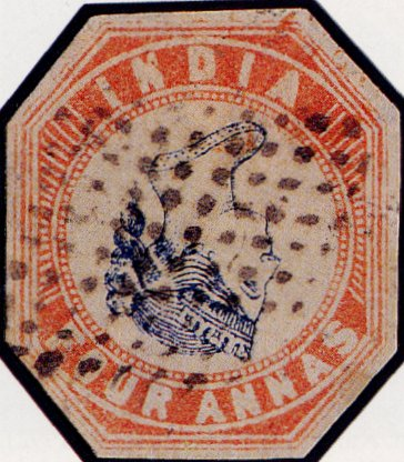 World Rarest Postage Stamps - India Postage - Inverted_Head_Four_Annas