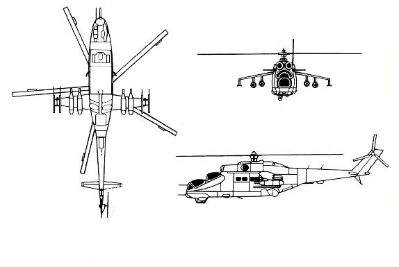 Ми-24 в трёх проекциях