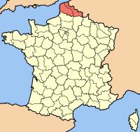 Карта Франции с выделенным регионом Нор — Па-де-Кале