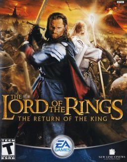 "Box art, depicting the characters Aragon and Gandalf wielding their weapons. Behind them are Orcs against a background consisting of a flying Nazgûl, Mount Doom and Barad-Dûr. From left to right along the bottom are the ESRB rating of ""Teen"" and the EA Games and New Line Cinema logos."