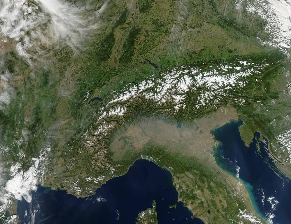 Альпы — снимок из космоса