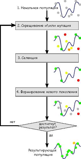 Схема работы генетического