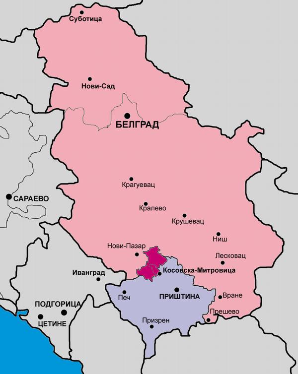 Северное косово на карте сербии и