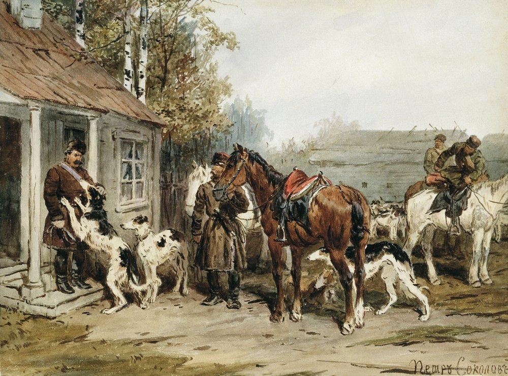 Собаки в искусстве Sokolow_sbory-na-ohotu-u-kryltsa
