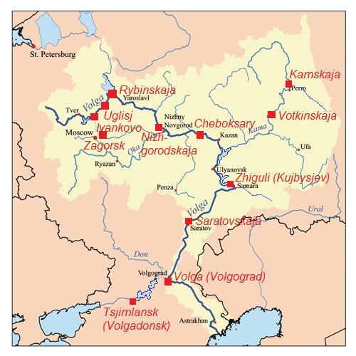 Карта размещения крупнейших