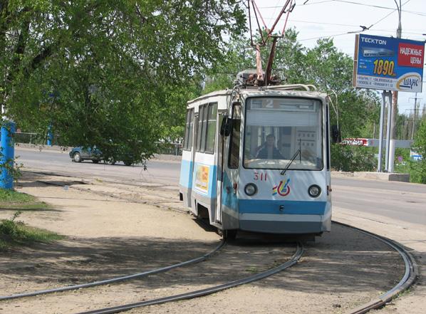 Трамвай 71-605РМ в Воронеже.